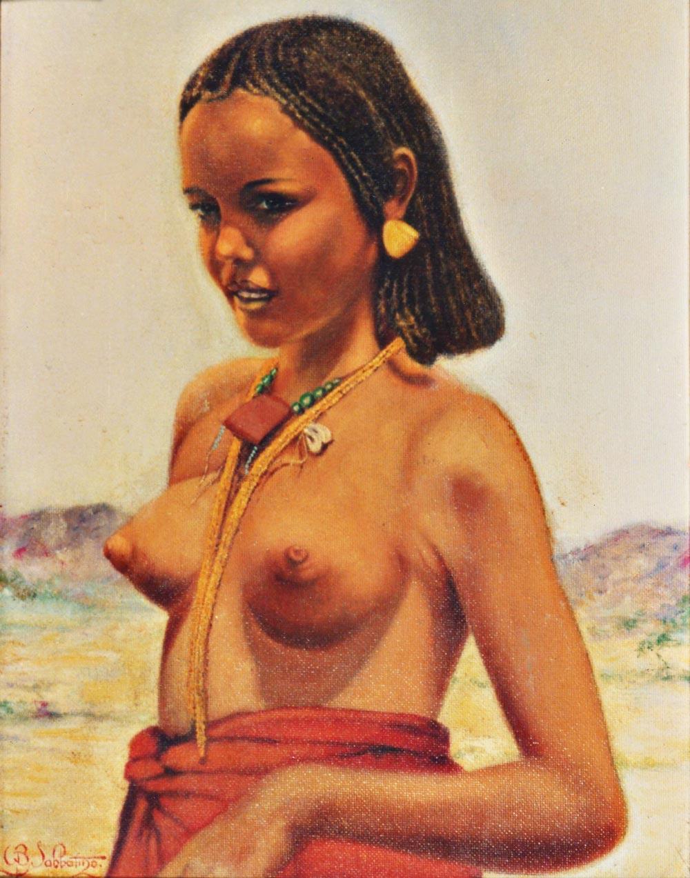 arte africani ritratti nudo di donna Keren olio su tela Sabbatino