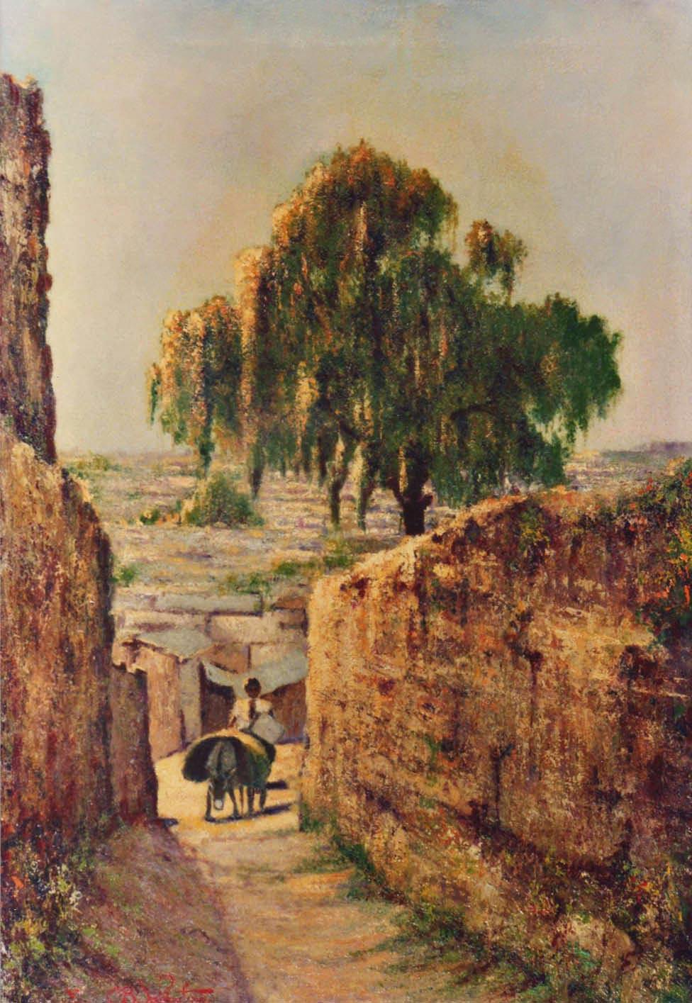 strada del villaggio quadri africani paesaggi olio su tela Sabbatino