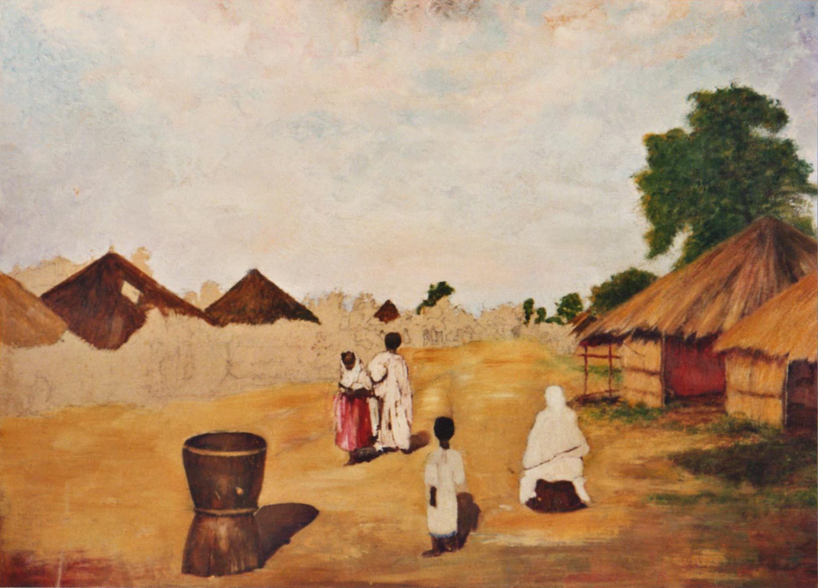 quadri africani villaggio paesaggio olio su tela Sabbatino