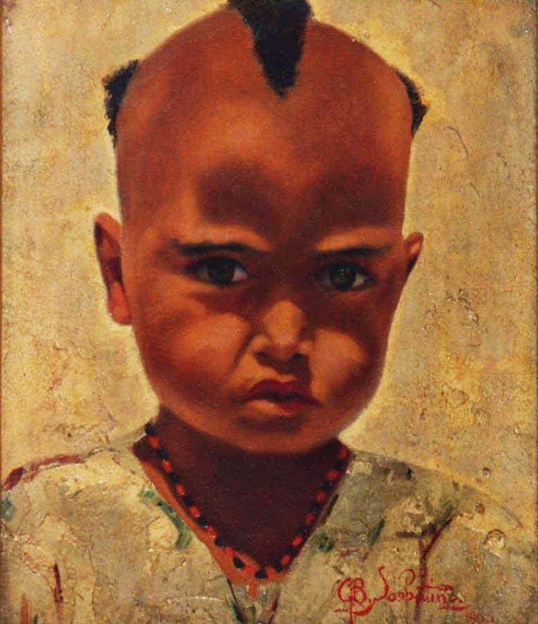 quadri africani ritratto bambino di massawa faesite Sabbatino