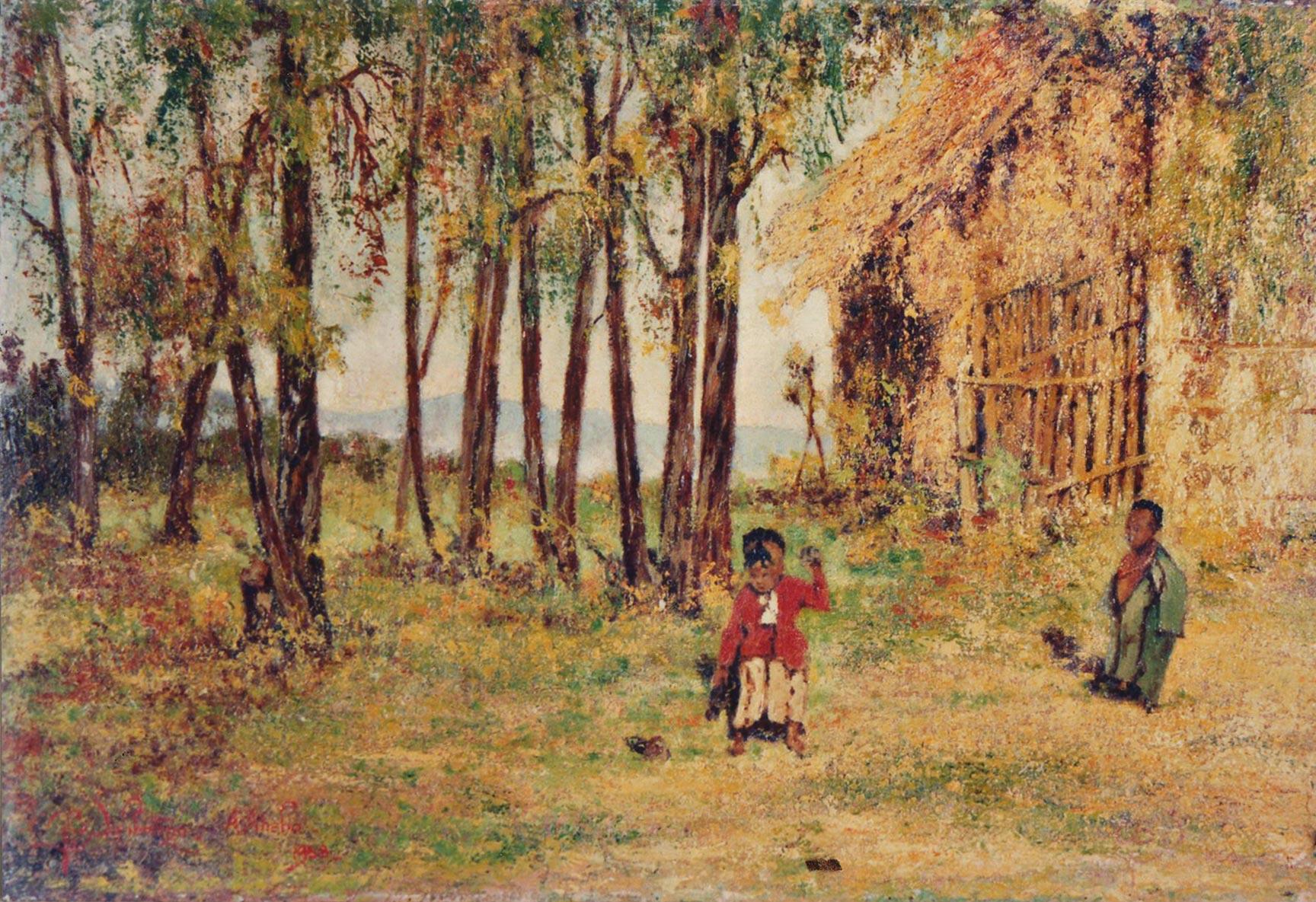 quadri africani scene di vita villaggio olio su tela Sabbatino