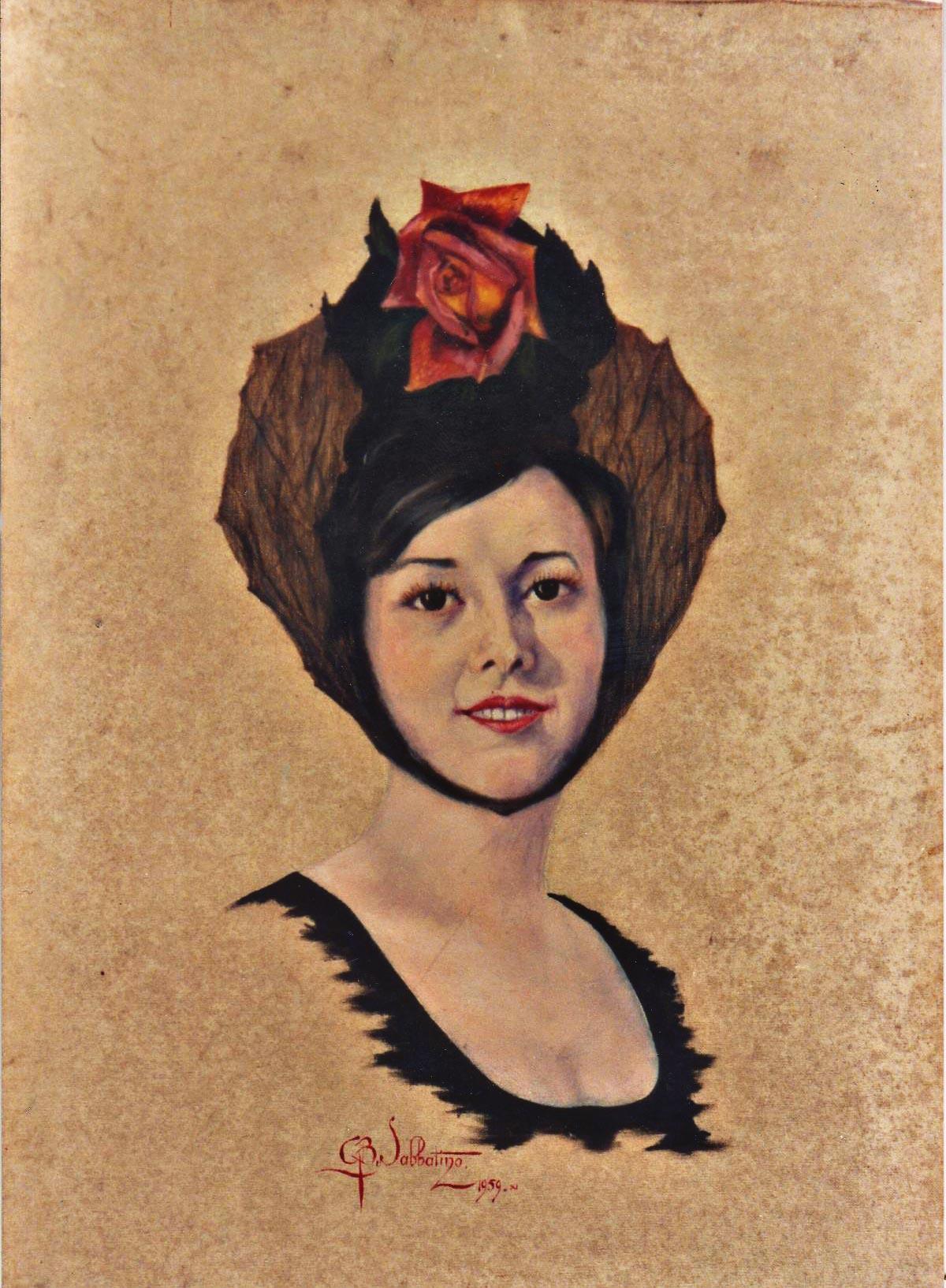 ritratto volto femminile olio su tela Sabbatino