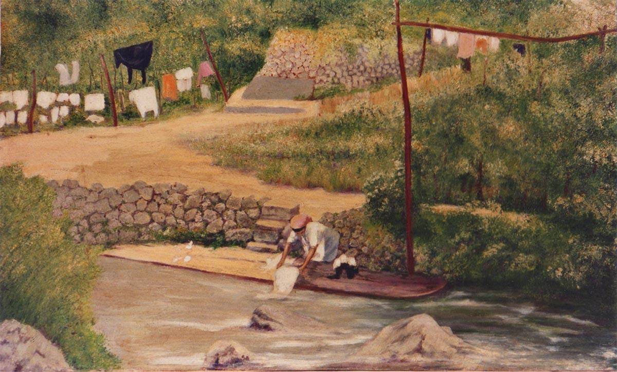 quadri scene di vita lavandaia olio su tela Sabbatino
