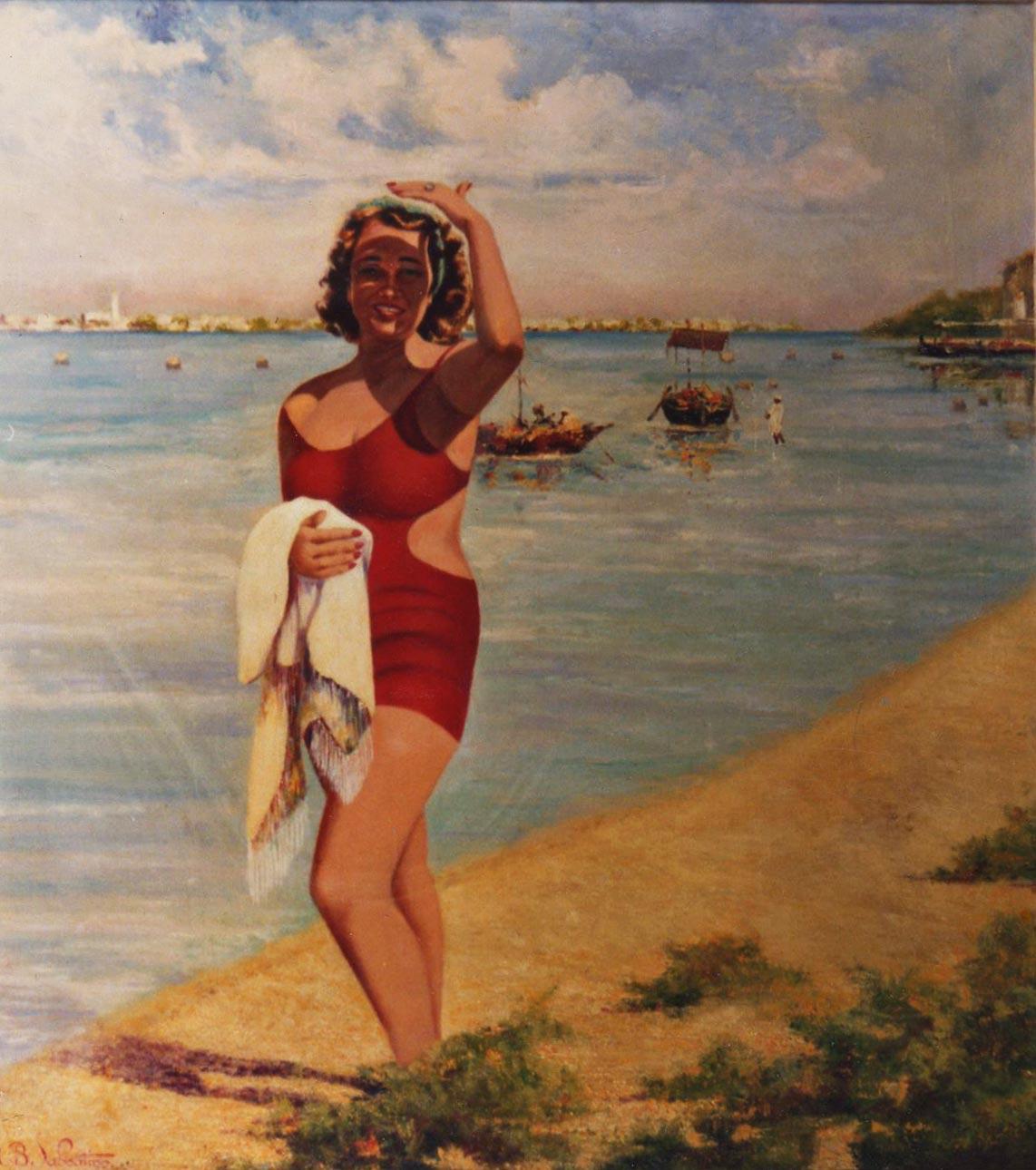 quadri ritratto donna spiaggia olio Sabbatino