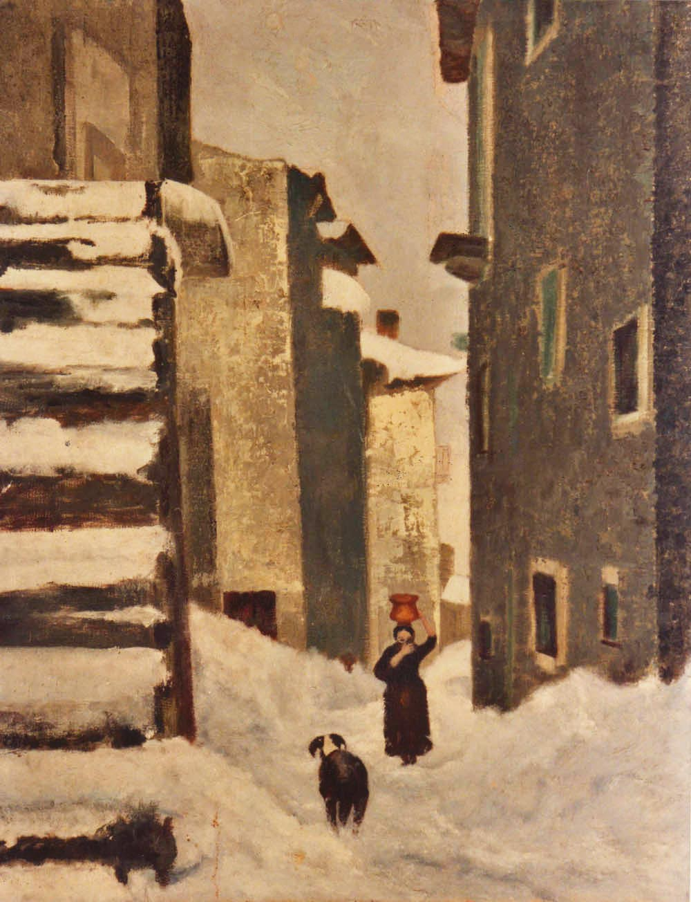 quadri paesaggi abruzzo strada innevata olio su tela Sabbatino