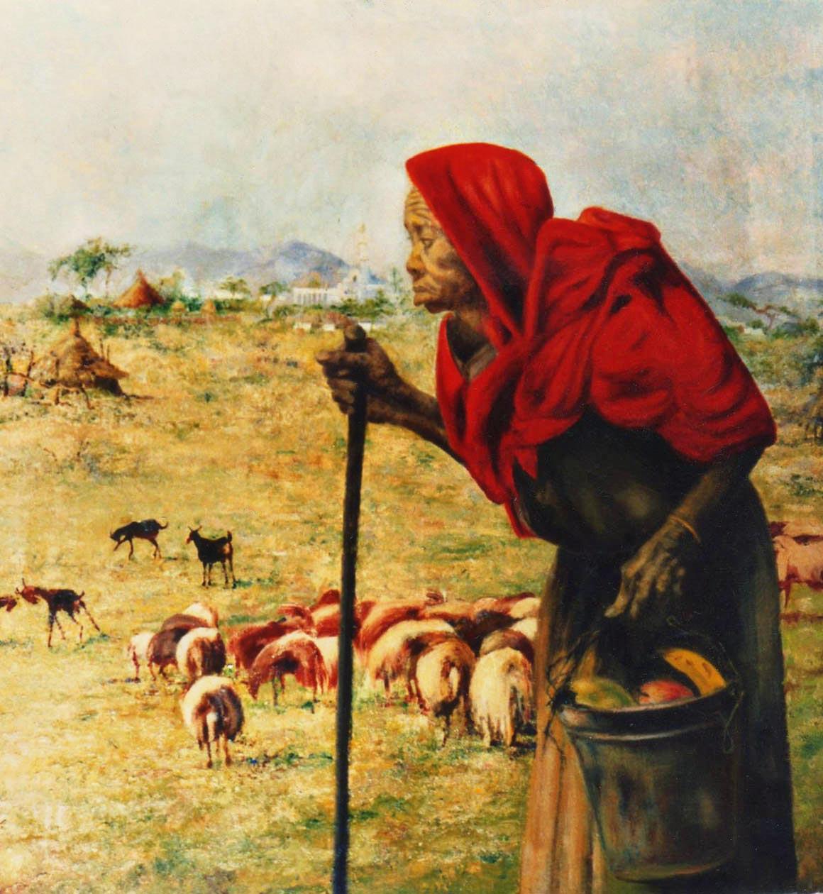 arte africana ritratto anziana pastora quadri africani olio su tela Sabbatino