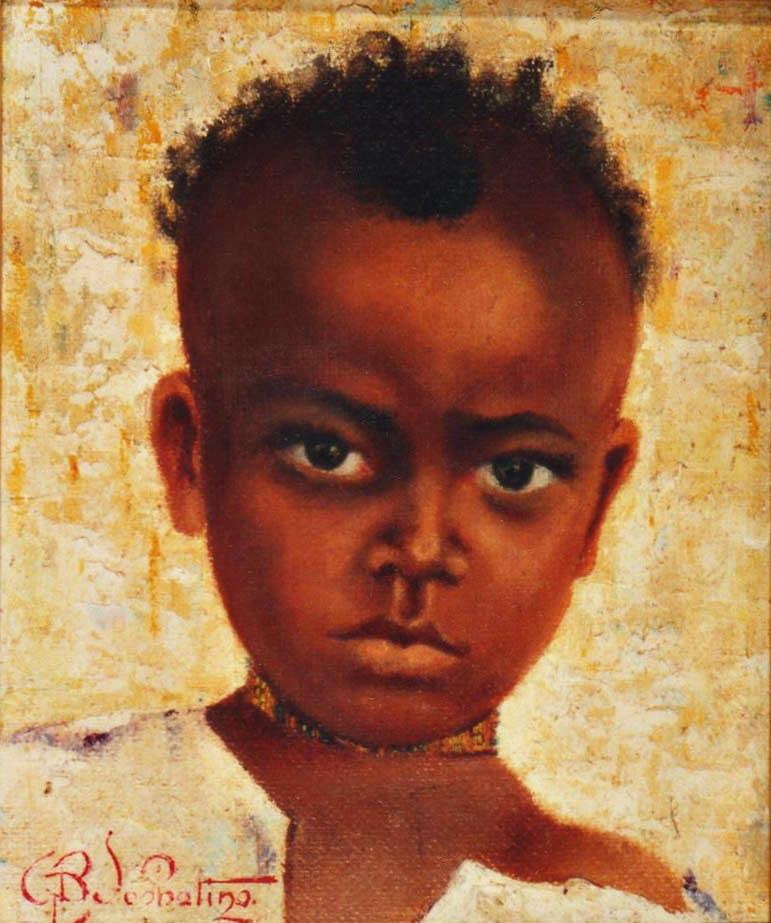 quadri africani ritratto ragazzo olio su tela Sabbatino