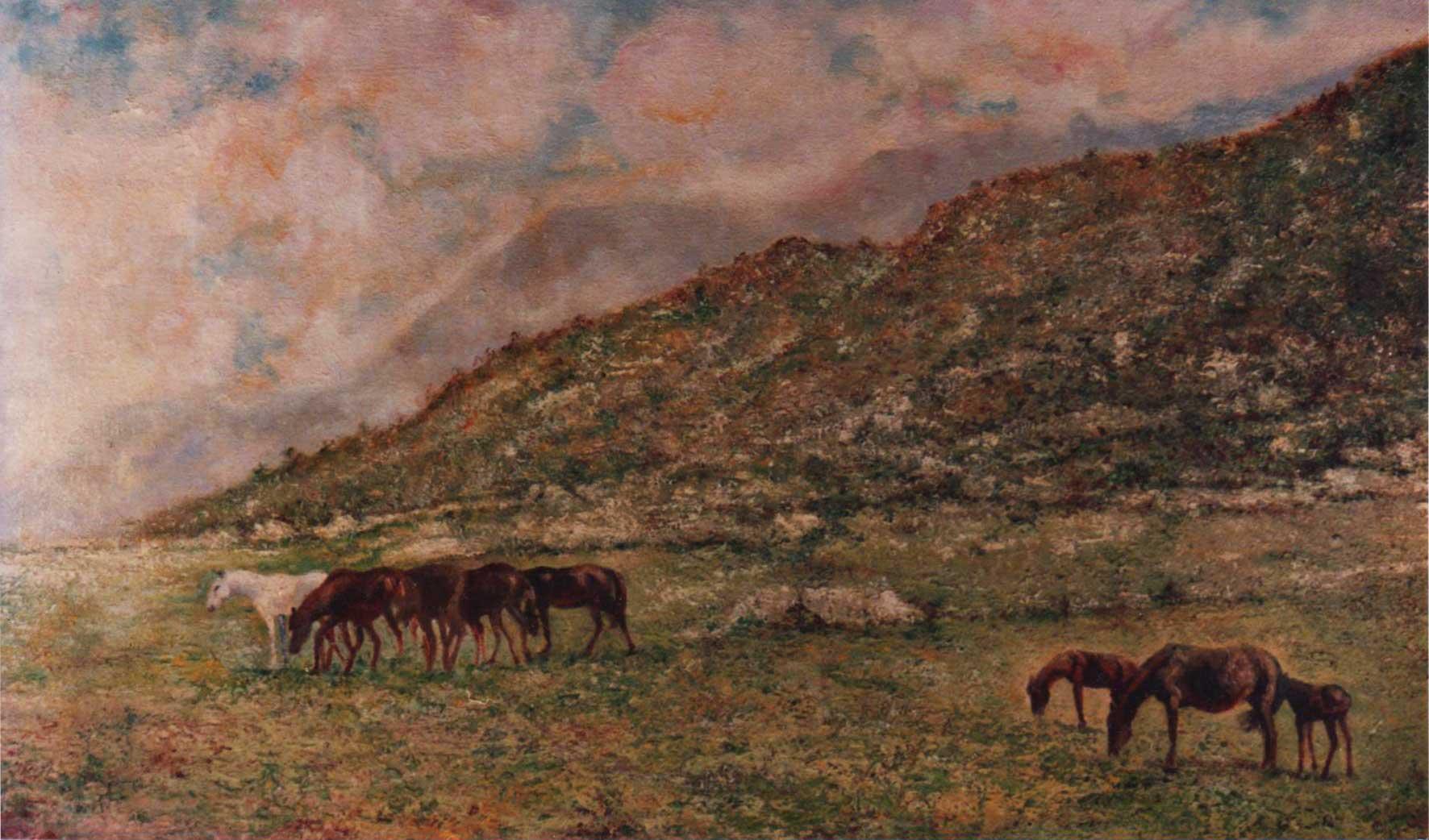 quadri animali cavalli paesaggi olio Sabbatino