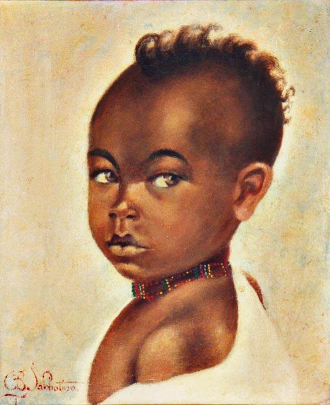quadri africani bambino ritratto olio su tela Sabbatino