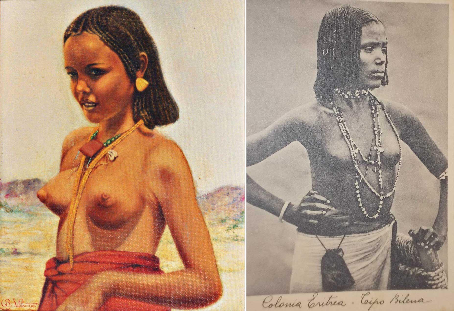 quadro di donna bilena cartolina coloniale