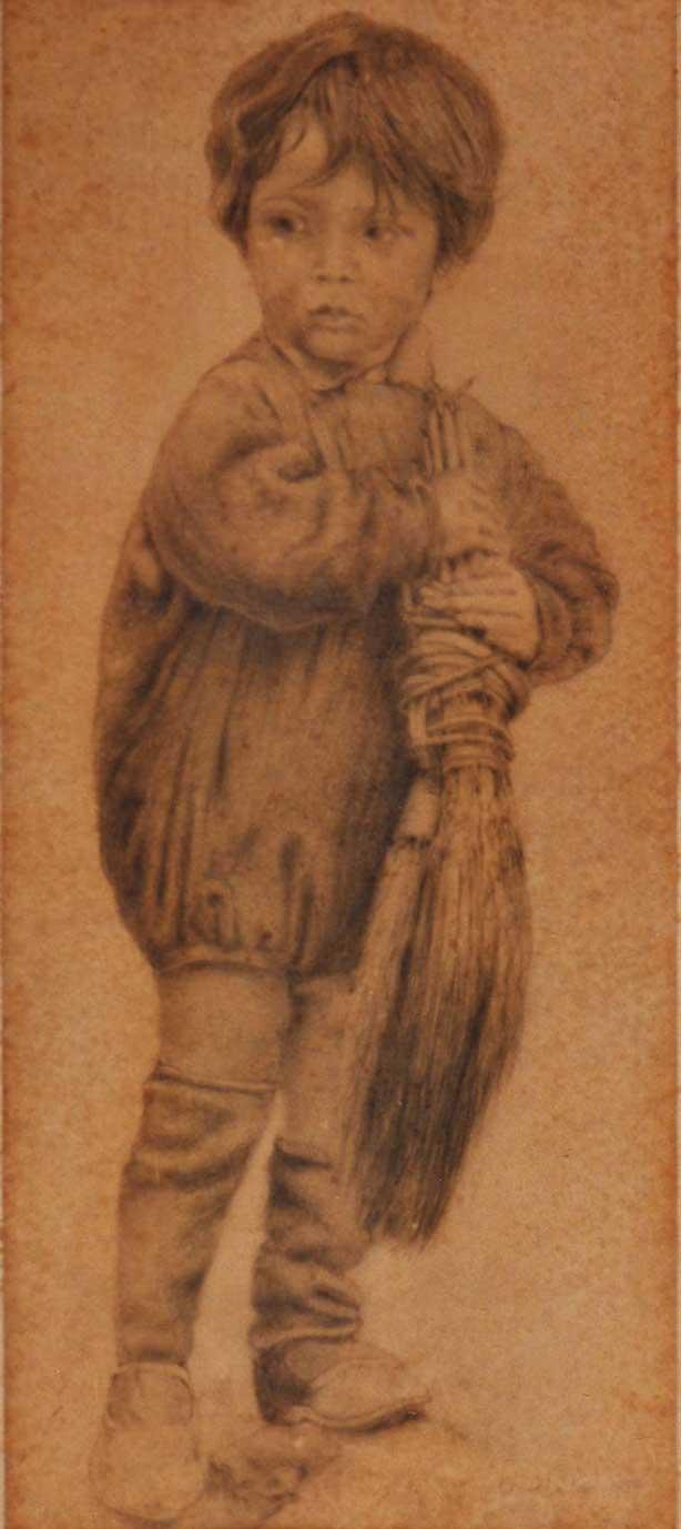 quadro ritratto bambino carboncino faesite Sabbatino