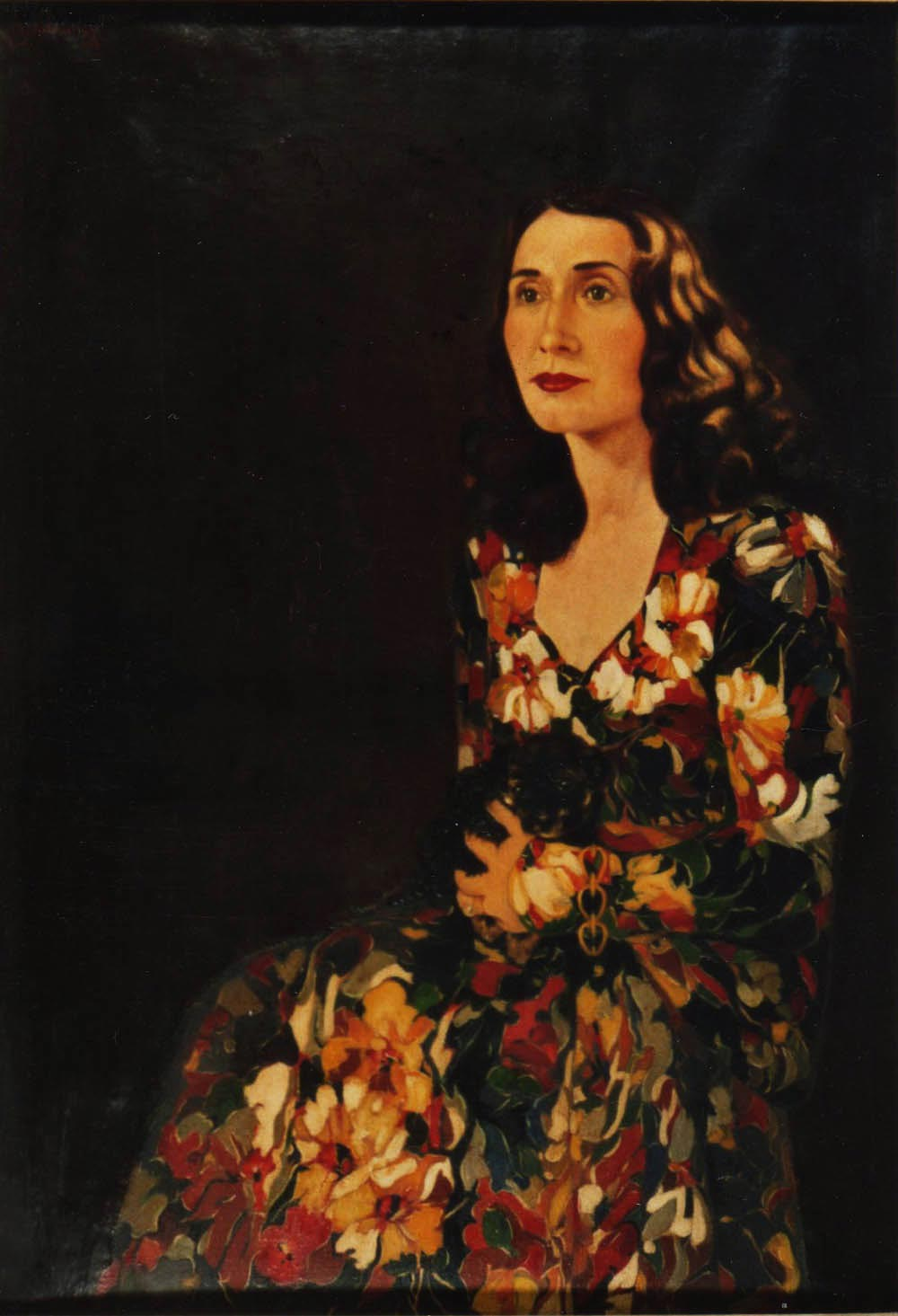 quadro ritratto femminile abito fiori Sabbatino