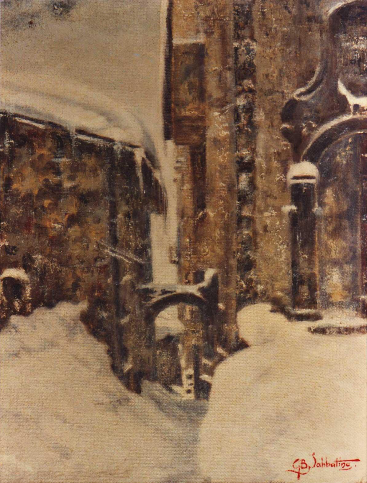 quadro paesaggio scanno abruzzo neve Sabbatino