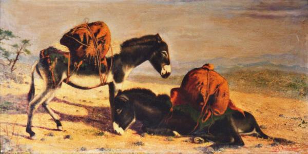 quadri africani animali olio su tela la sosta Sabbatino
