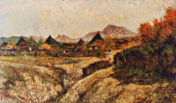 villaggio quadri africani paesaggi olio su tela Sabbatino