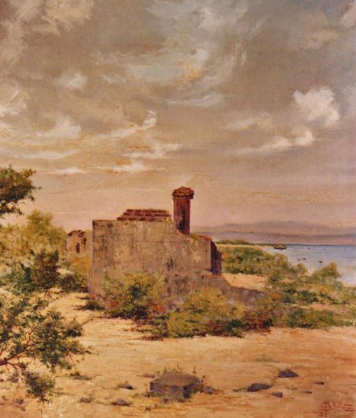 quadri africani isola verde paesaggio olio su tela Sabbatino