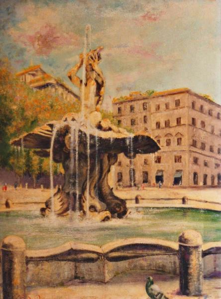 quadri di roma fontana del tritone quadri di monumenti Roma Sabbatino