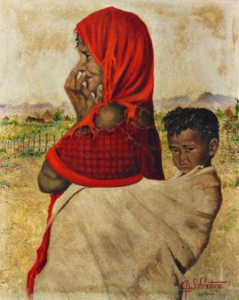 quadro africano ritratto madre bambino Keren Sabbatino