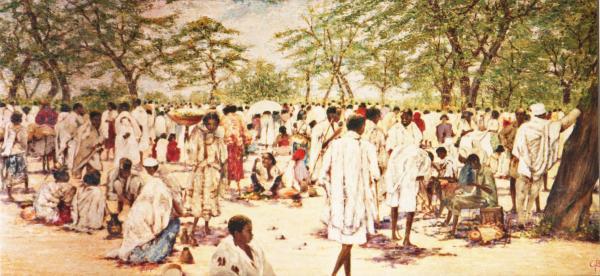 quadri africani scene di vita incontro olio su tela Sabbatino