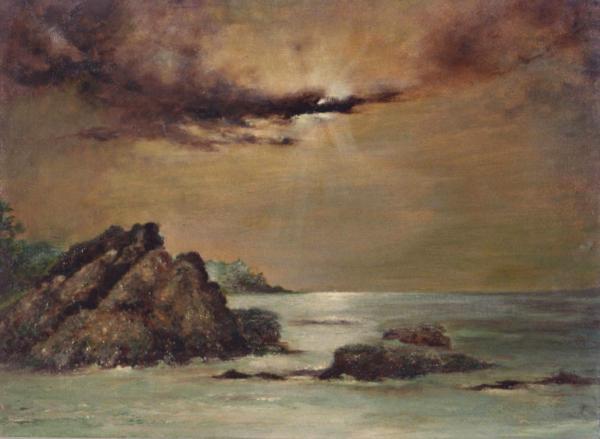 quadro paesaggio mare scogli olio su tela Sabbatino
