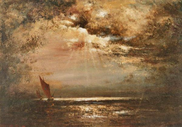 quadro paesaggio mare alba faesite Sabbatino