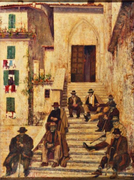 quadro paesaggio abruzzo scalinata olio Sabbatino