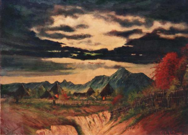 quadri africani paesaggio agordat olio su tela Sabbatino