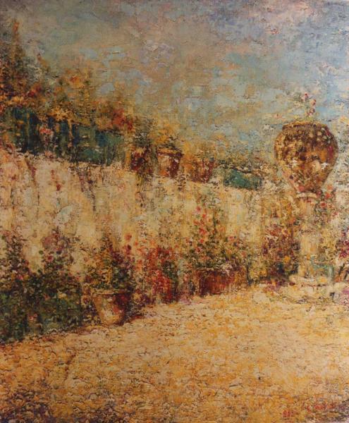 quadro paesaggio giardino olio faesite Sabbatino