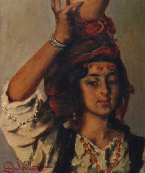 ciociaretta quadro donna olio su tela Sabbatino