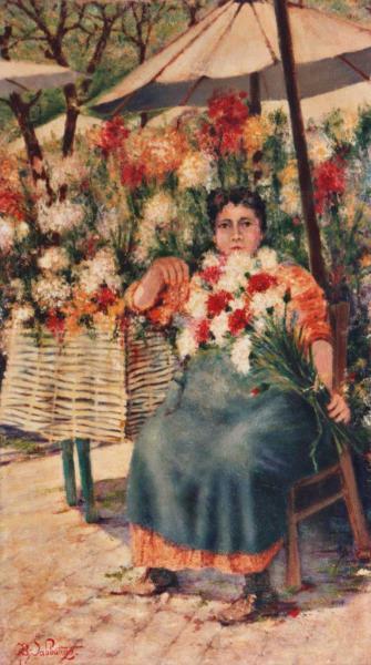 quadro ritratto fioraia olio tela Sabbatino
