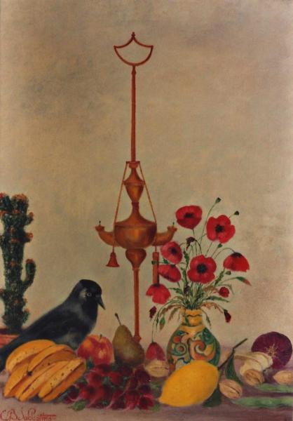 quadro natura morta olio tela Sabbatino