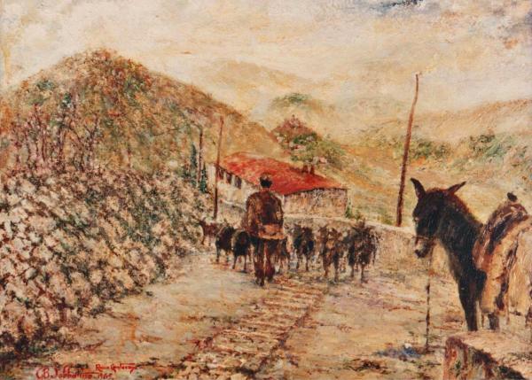 quadro paesaggio rocca canterano olio Sabbatino