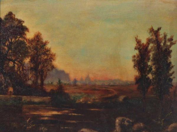 quadro paesaggio campestre olio faesite Sabbatino