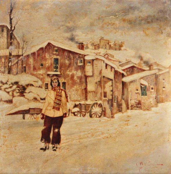 quadro paesaggio pescocostanzo abruzzo olio Sabbatino