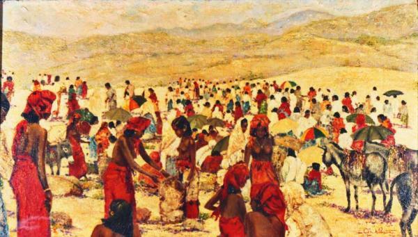 quadri africani mercato bati etiopia africa Sabbatino
