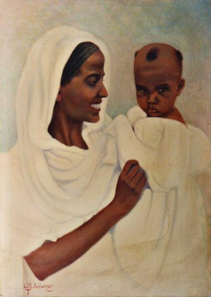 quadri africani madre con bambino olio su tela africa Sabbatino