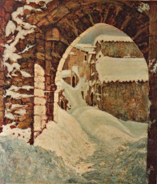 strada con arco innevata quadro olio su tela Sabbatino