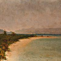 quadri africani paesaggio spiaggia isola verde olio su tela Sabbatino