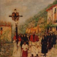 quadri processione olio su tela crocefisso