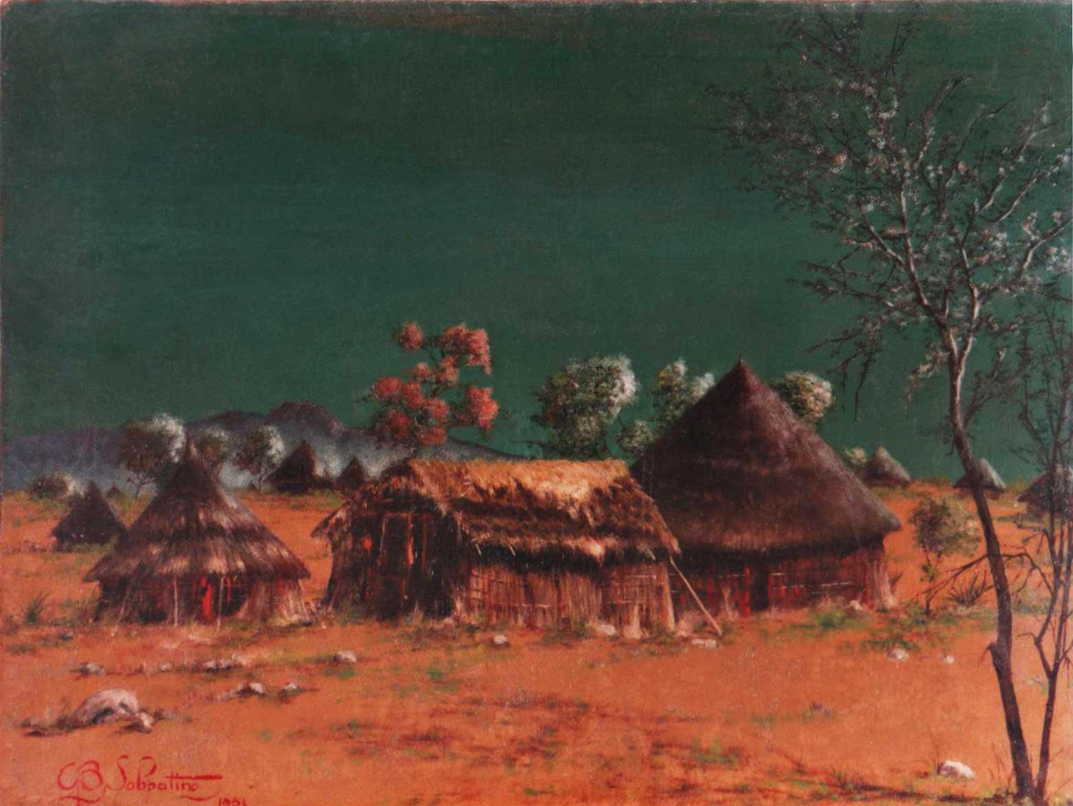 quadri africani villaggio africa olio su tela Sabbatino